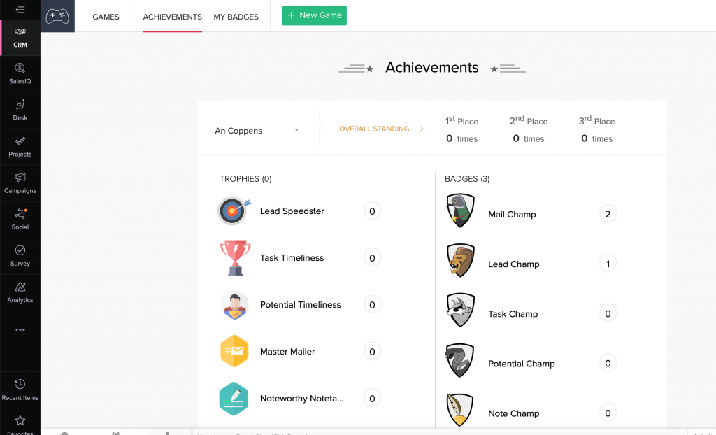 Zoho CRM achievements - what does gamification look like www.gamificationnation.com